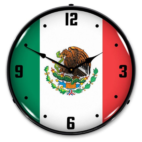 Mexican Flag LED Lighted Wall Clock 14 x 14 Inches