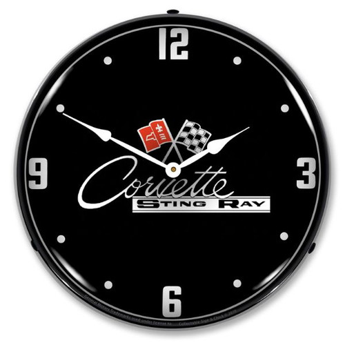 C2 Corvette Black Tie LED Lighted Wall Clock 14 x 14 Inches