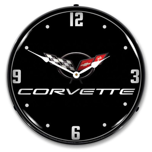 C5 Corvette Black Tie LED Lighted Wall Clock 14 x 14 Inches