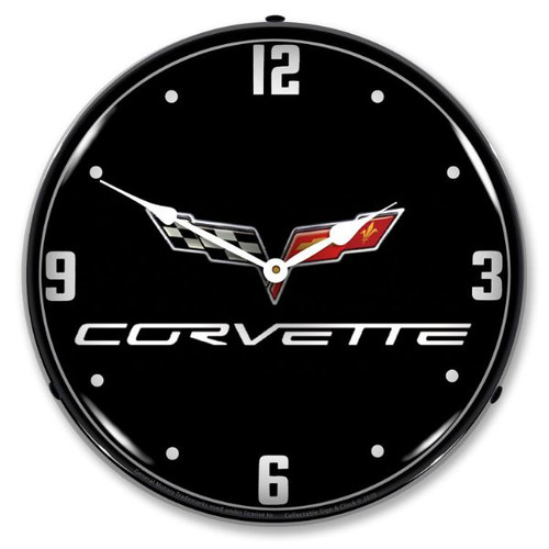 C6 Corvette Black Tie LED Lighted Wall Clock 14 x 14 Inches