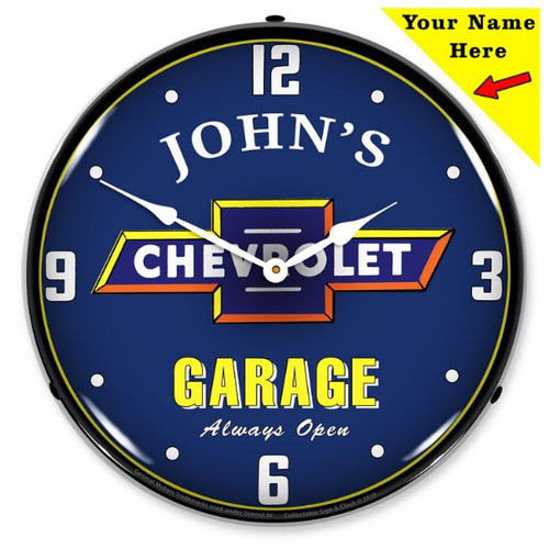 Personalized Chevrolet Garage LED Lighted Wall Clock 14 x 14 Inches