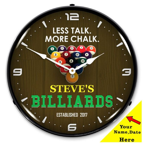 Personalized Billiards Room LED Lighted Wall Clock 14 x 14 Inches