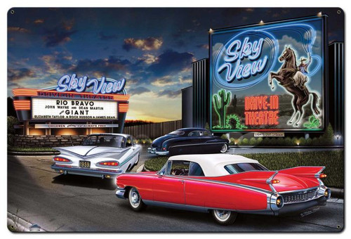 Skyview Drive In Metal Sign 36 x 24 Inches