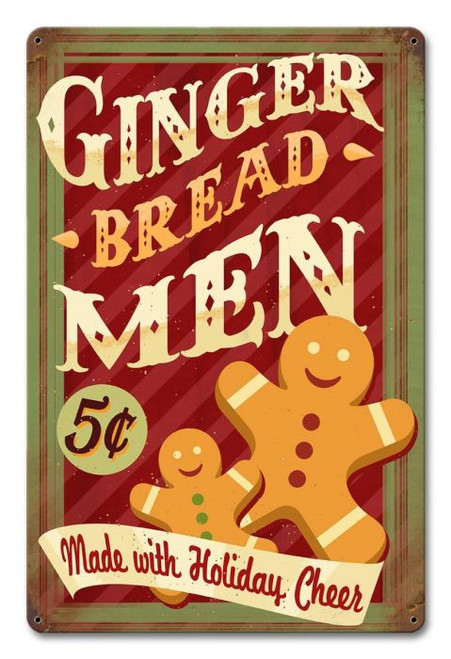 Gingerbread Men Holiday Metal Sign 12 x 18 Inches