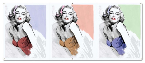 Three Faces Of Marilyn Monroe Metal Sign 48 x 20 Inches