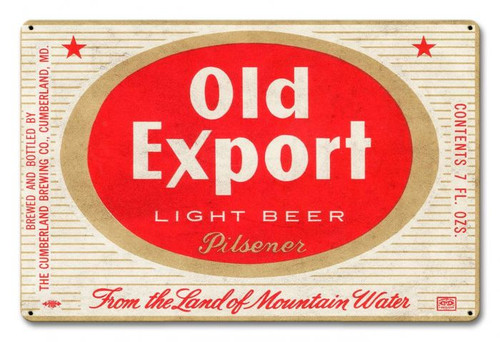 Old Export Light Beer Metal Sign 18 x 12 Inches