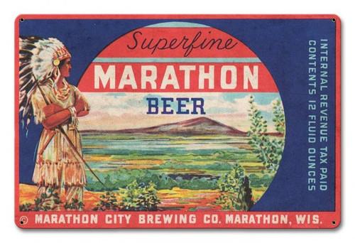 Marathon Beer Metal Sign 18 x 12 Inches
