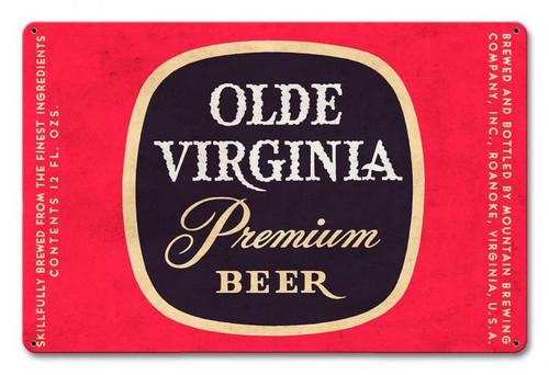 Olde Virginia Beer Metal Sign 18 x 12 Inches