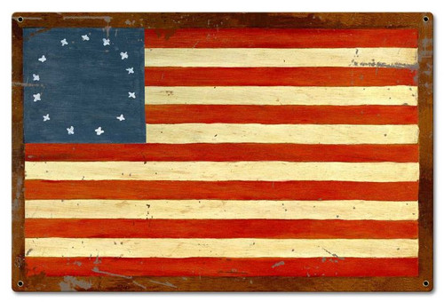 US Flag 13 Stars Metal Sign 18 x 12 Inches