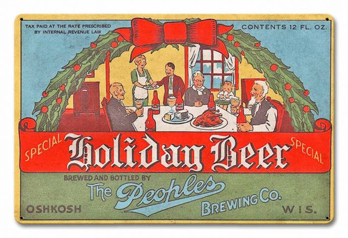Peoples Holiday Beer Metal Sign 18 x 12 Inches