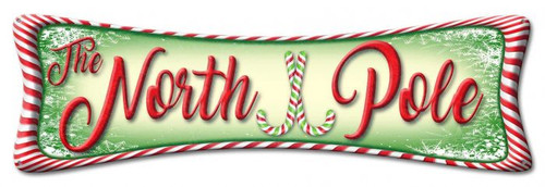 North Pole Metal Sign 28 x 9 Inches