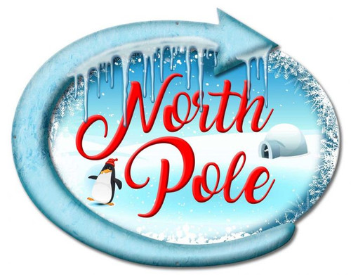 North Pole Metal Sign 22 x 17 Inches