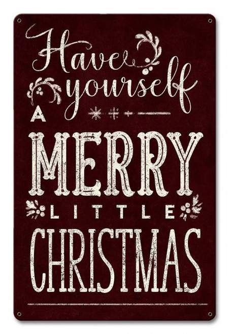 Merry Little Christmas Metal Sign 12 x 18 Inches