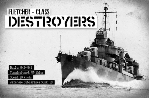 Fletcher Destroyers Metal Sign 18 x 12 Inches