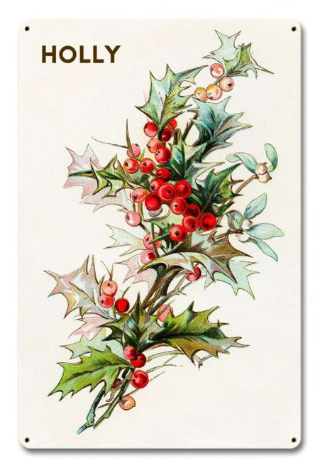 Holly Branch Metal Sign 12 x 18 Inches