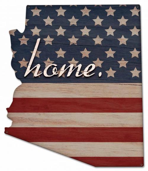 American Flag Home Arizona Metal Sign 21 x 24 Inches