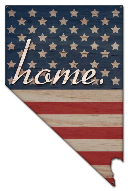 American Flag Home Nevada Metal Sign 13 x 20 Inches