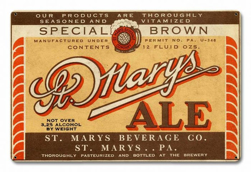 St. Mary's Ale Metal Sign 18 x 12 Inches