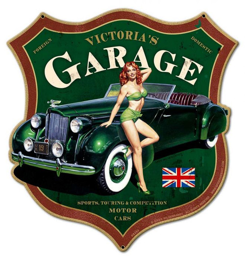 Victoria's Garage Metal Sign 15 x 16 Inches