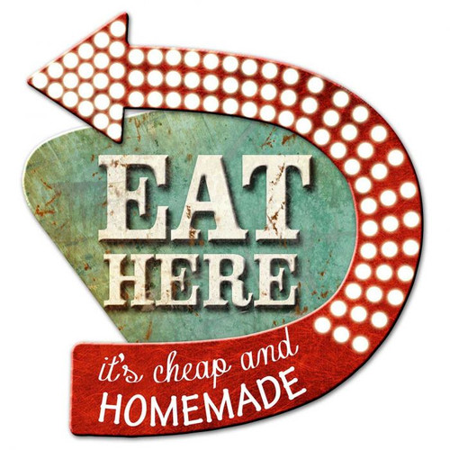 3-D Layered Eat Here  Metal Sign 15 x 15 Inches