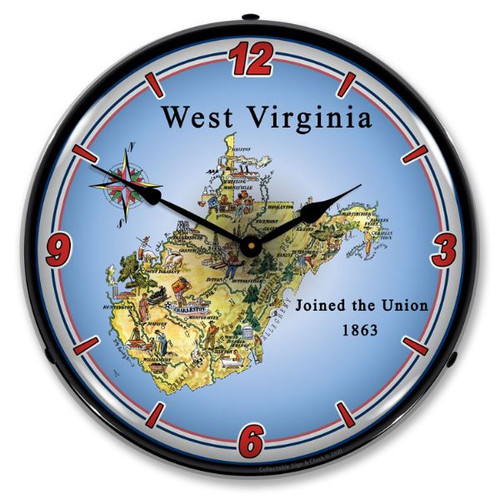 State of West Virginia LED Lighted Wall Clock 14 x 14 Inches
