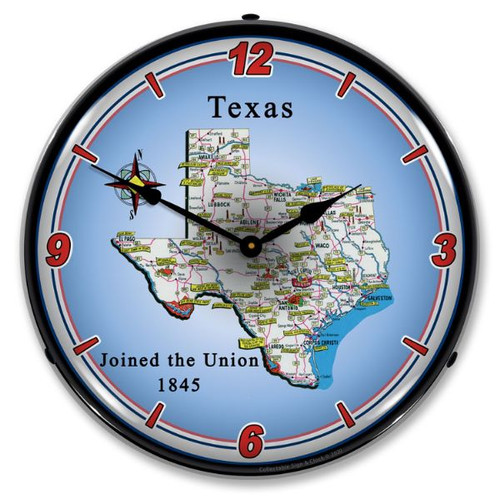 State of Texas LED Lighted Wall Clock 14 x 14 Inches
