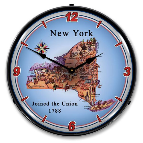 State of New York LED Lighted Wall Clock 14 x 14 Inches