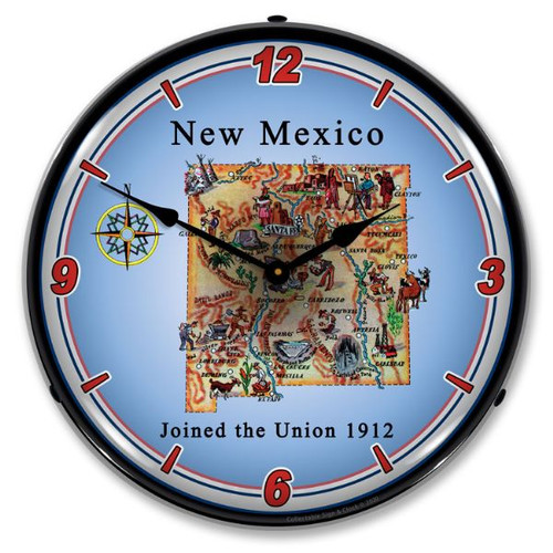 State of New Mexico LED Lighted Wall Clock 14 x 14 Inches