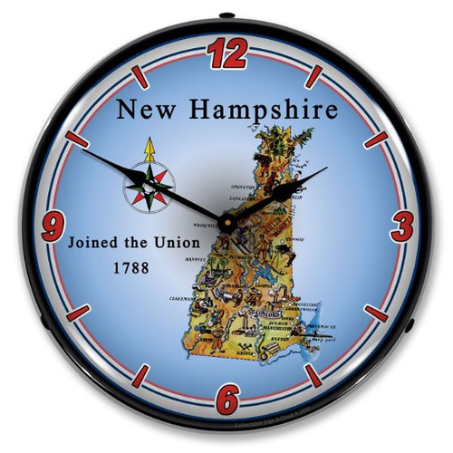 State of New Hampshire LED Lighted Wall Clock 14 x 14 Inches