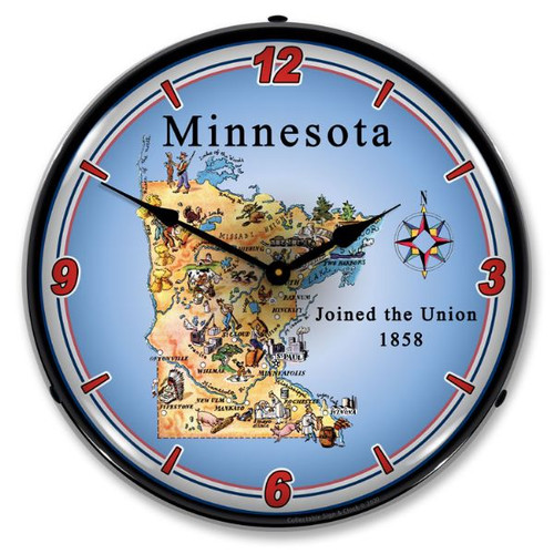 State of Minnesota LED Lighted Wall Clock 14 x 14 Inches