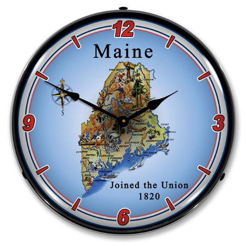 State of Maine LED Lighted Wall Clock 14 x 14 Inches