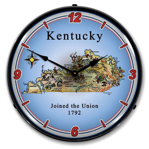 State of Kentucky LED Lighted Wall Clock 14 x 14 Inches