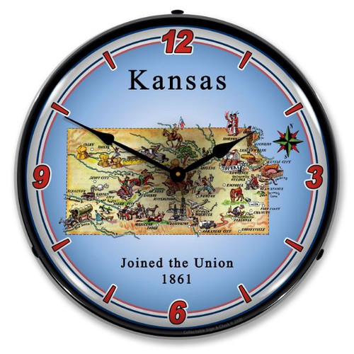 State of Kansas LED Lighted Wall Clock 14 x 14 Inches