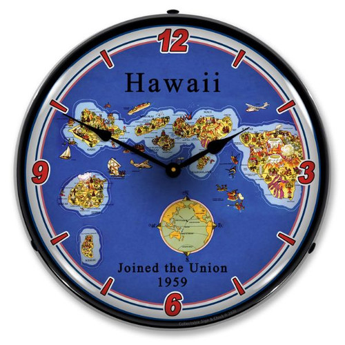 State of Hawaii LED Lighted Wall Clock 14 x 14 Inches