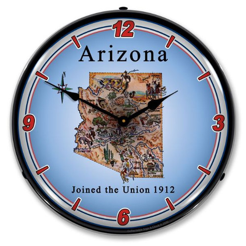 State of Arizona LED Lighted Wall Clock 14 x 14 Inches