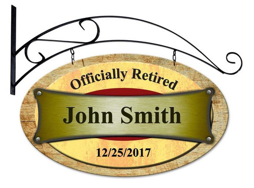 Officially Retired Double Sided Oval Metal Sign - Personalized 24 x 14 Inches