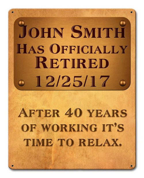 Officially Retired Plaque Oval Metal Sign - Personalized 24 x 14 Inches