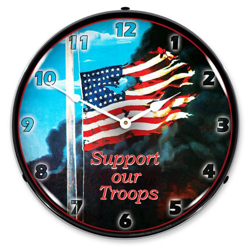 Support our Troops LED Lighted Wall Clock 14 x 14 Inches