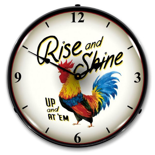 Rise and Shine LED Lighted Wall Clock 14 x 14 Inches