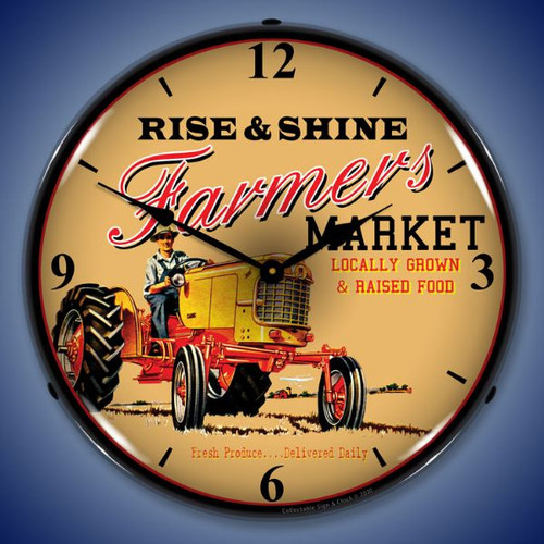 Farmers Market LED Lighted Wall Clock 14 x 14 Inches