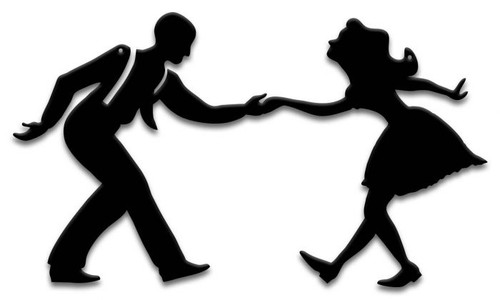 Swing Dancers 2 Silhouette Metal Sign 19 x 11 Inches