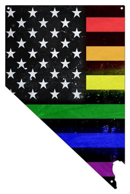 Nevada Rainbow American Flag Metal Sign 14 x 22 Inches