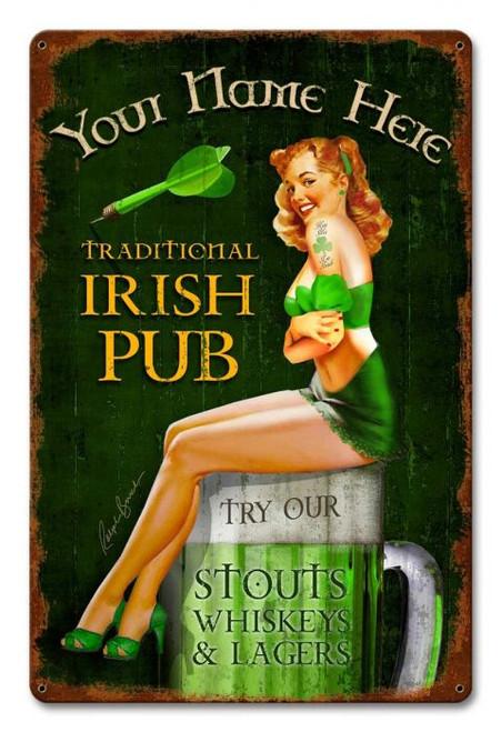 Irish Pub Metal Sign - Personalized  12 x 18 Inches