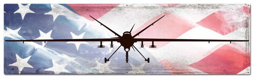 Planes MQ-9 Reaper American Flag Metal Sign 48 x 14 Inches