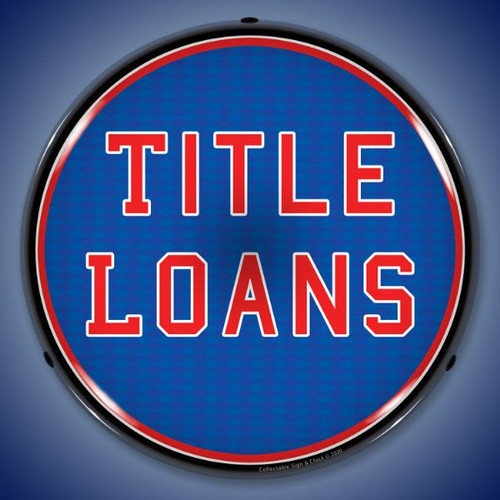 Title Loans LED Lighted Business Sign 14 x 14 Inches