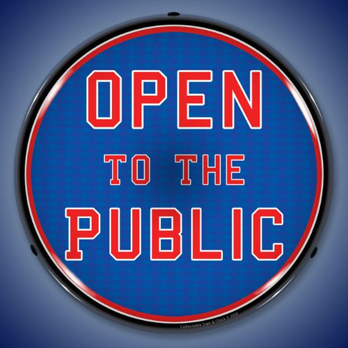 Open To The Public LED Lighted Business Sign 14 x 14 Inches