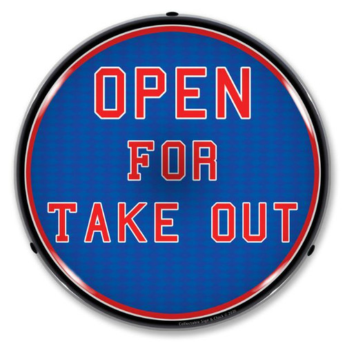 Open For Take Out LED Lighted Business Sign 14 x 14 Inches