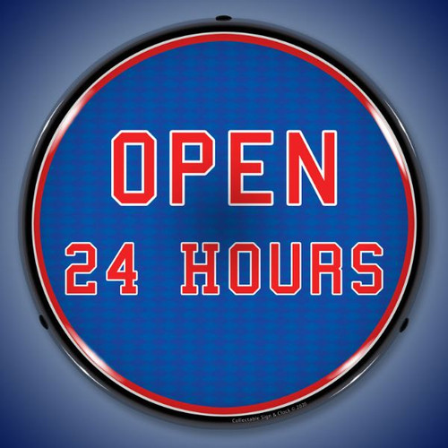 Open 24 Hours LED Lighted Business Sign 14 x 14 Inches