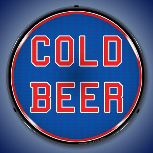 Cold Beer LED Lighted Business Sign 14 x 14 Inches
