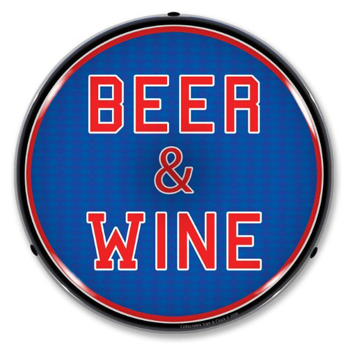 Beer & Wine LED Lighted Business Sign 14 x 14 Inches